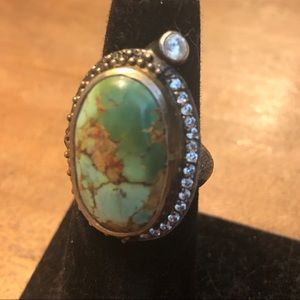 Gorgeous Turquoise Oxidized Sterling Silver Ring